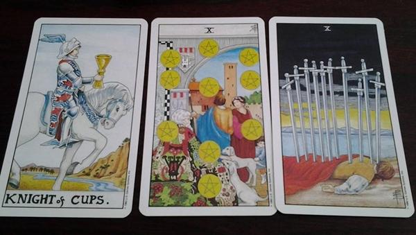 Tarot Card Combos - Knight of Cups + 10 of Pentacles + 10 of