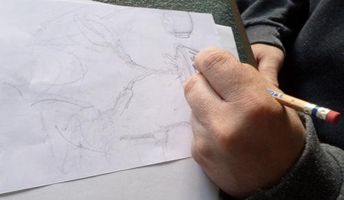 Sketching Blending Close Up