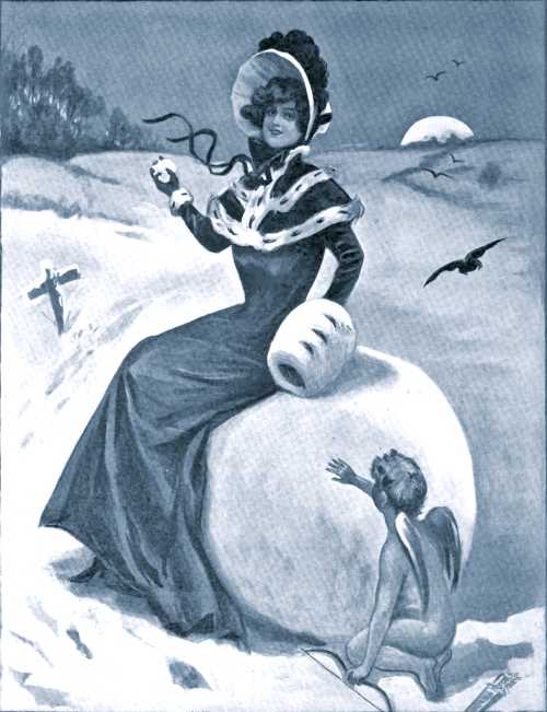 Cupid trades his arrow for a snowball.  From The Sketch, 1905