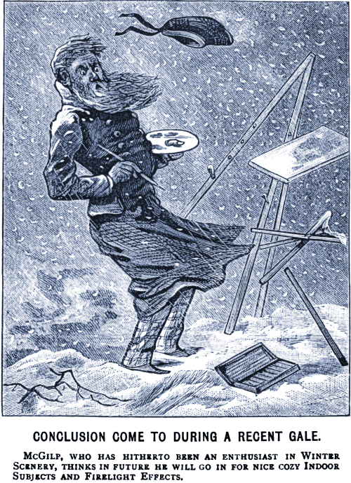 Hitherto an enthusiast in winter scenery, he thinks in future he'll go in for nice cozy indoor subjects and firelight effects.  From Judy, Or The London Serio-Comic Journal, 1882